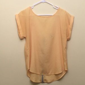 Yellow scoop neck / V back top; L